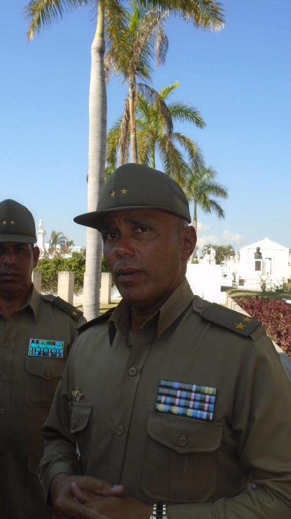 Teniente Coronel Peraza, jefe de la escolta de la Caravana con las cenizas de Fidel.
