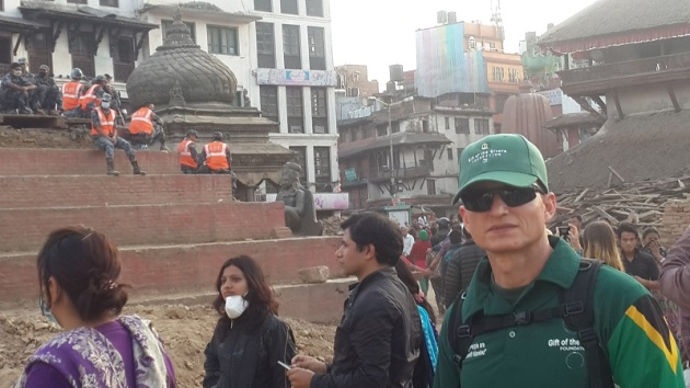 Dr Meneses-Turino in Nepal after the earthquake. (Image: Gift of the Givers)